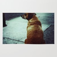 tom waits Area & Throw Rugs featuring Doggie waits by Jacquie Fonseca