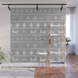 Christmas Silver & White Nordic Knit Ugly Christmas Sweater Wall Mural