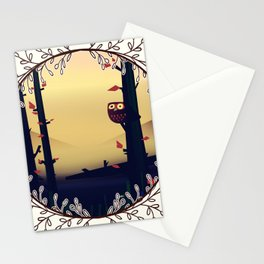 Owl in the woodland Stationery Cards