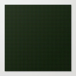 Dark Forest Green and Black Houndstooth Check Canvas Print