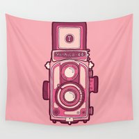vintage camera Wall Tapestries featuring Vintage Camera by evannave
