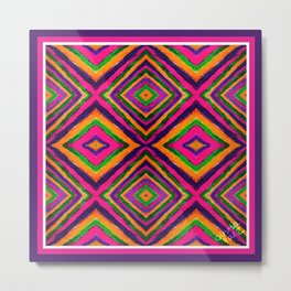 Rainbow Painted God's Eye - Pink Metal Print