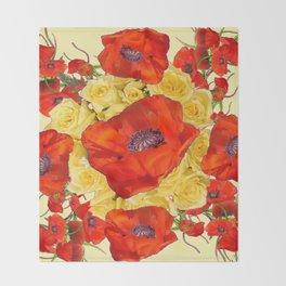 ORANGE POPPY FLOWERS GARDEN YELLOW ROSES ART Throw Blanket