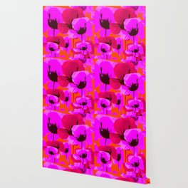 Pink And Red Poppies On A Orange Background - Summer Juicy Color Palette - Retro Mood Wallpaper