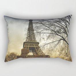 Winter sunset near the Eiffel tower in Paris Rectangular Pillow