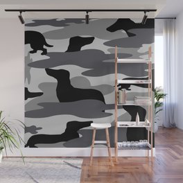 Grey Camo Weiner Dogg Wall Mural