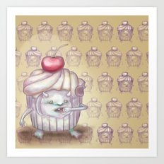 There is a Monster in my cupcake Art Print