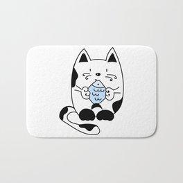 Cat with a fish Bath Mat