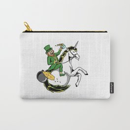 Leprechaun Riding Unicorn Patricks Day Irish Gift Carry-All Pouch