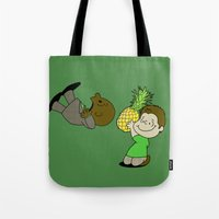 psych Tote Bags featuring Psych! (Green Version) by AriesNamarie
