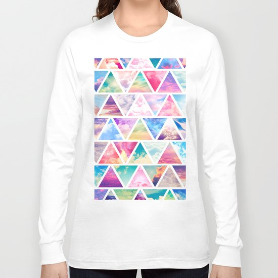 Pink Clouds Teal Sky Abstract Triangles Pattern Long Sleeve T-shirt