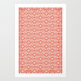Pantone Living Coral and White Rings Circle Heaven, Overlapping Ring Design Art Print