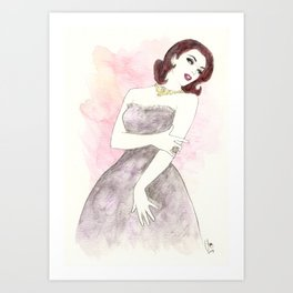 'Scarlett' Watercolor Fashion Illustration Art Print