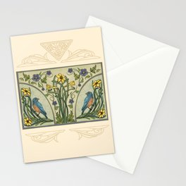 Bluebirds And Spring Blossoms Inspired By Art Nouveau Stationery Cards