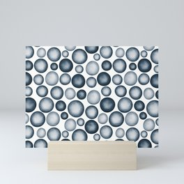 Dark Blue & Light Blue Gradient Circle Pebble Pairs To 2020 Color of the Year Chinese Porcelain Mini Art Print
