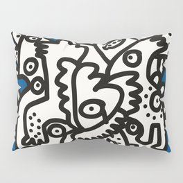 Blue Navy Color 2020 with Black and White Cool Monsters Pillow Sham