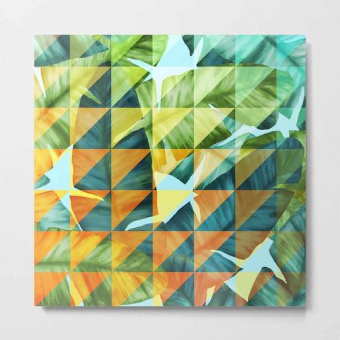 Abstract Geometric Tropical Banana Leaves Pattern Metal Print