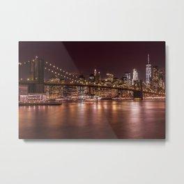 MANHATTAN SKYLINE & BROOKLYN BRIDGE Sunset Metal Print