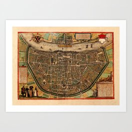 Map Of Cologne 1572 Art Print