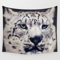 snow leopard Wall Tapestries featuring Snow Leopard by Angela Dölling, AD DESIGN Photo + Photo