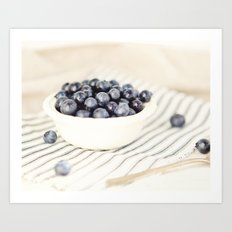 Scalloped Cup Full of Blueberries - Kitchen Decor Art Print