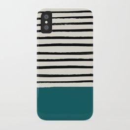 Dark Turquoise & Stripes iPhone Case