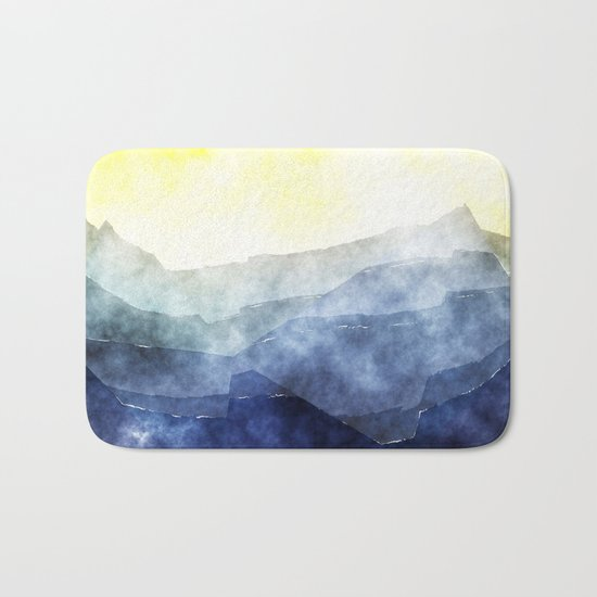 Sun behind the mountains - Modern abstract triangle pattern Bath Mat