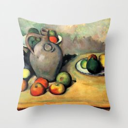 """Paul Cezanne """"Still life, jug and fruit on a table"""" Throw Pillow"""