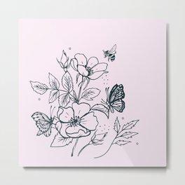 Line Drawn Dog Rose on Pink Metal Print