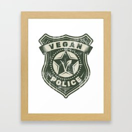 Vegan Police Badge - Funny Veganism Gift Framed Art Print
