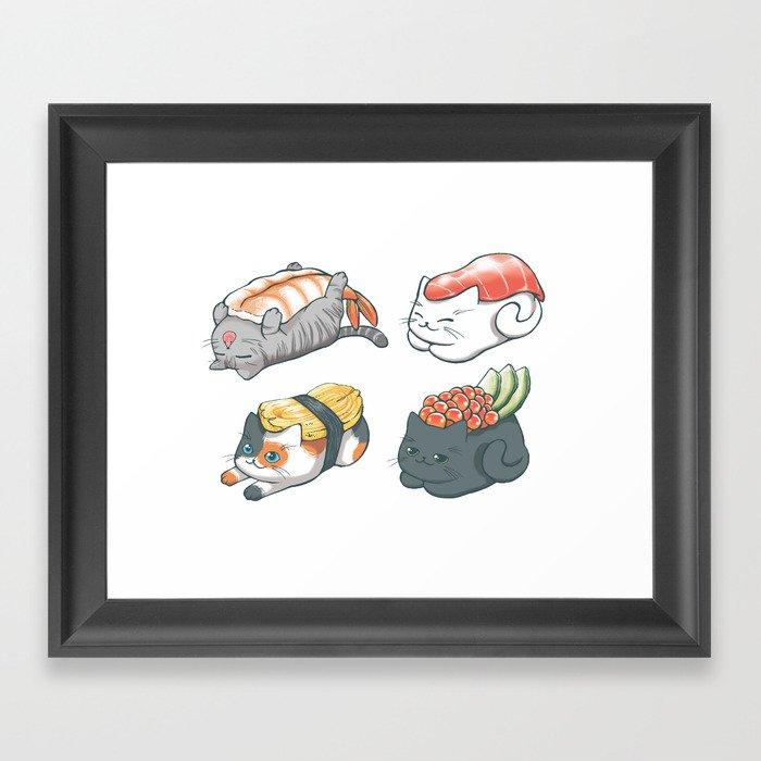 Sushi Cats Gerahmter Kunstdruck