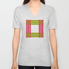 The intertwining pink and green ribbons Unisex V-Neck