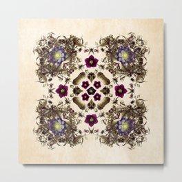 Hellebore and Nightshade Mandala Pattern Metal Print