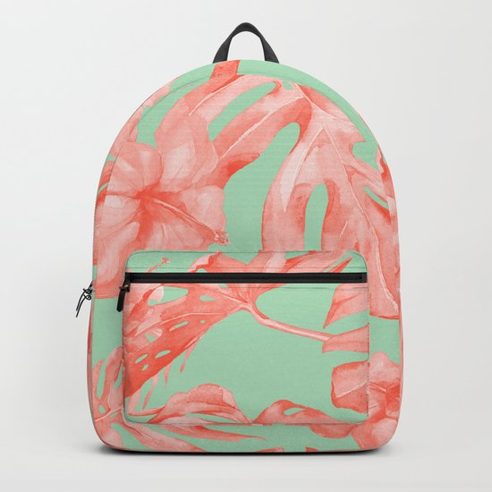 Island Life Coral Pink + Pastel Green Backpack