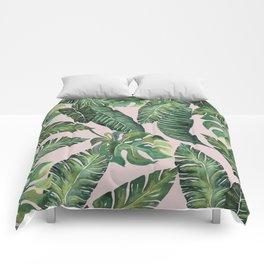 Jungle Leaves, Banana, Monstera Pink #society6 Comforters