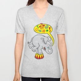 Circus elephant saying bad words Unisex V-Neck