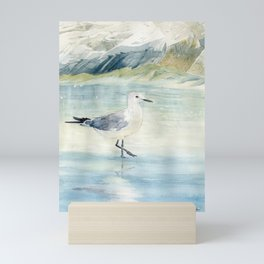 Seagull on the beach Mini Art Print
