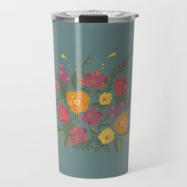 Folk flower arrangement - Spring blue Travel Mug