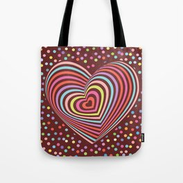 multi-colored rainbow heart on dark brown background. 3D Tote Bag
