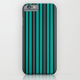 Turquoise, Black & Gray Stripes iPhone Case