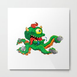 monster cartoon with control Metal Print