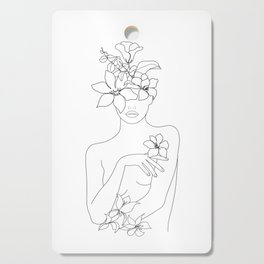 Minimal Line Art Woman with Flowers IV Cutting Board