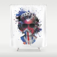 edm Shower Curtains featuring Queen Listen Music by Sitchko Igor