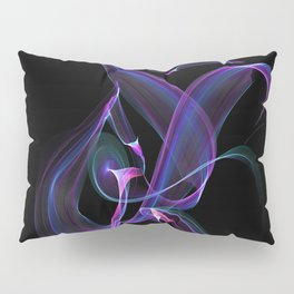 Abstract Purple Light Wave on Black Pillow Sham