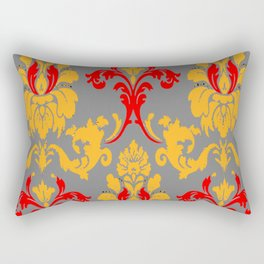 Modern Red-Gold & Grey Damask Pattern Rectangular Pillow