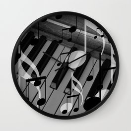 music notes white black piano keys Wall Clock