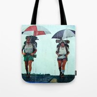 hiking Tote Bags featuring Rain Hiking by Fallon Chase