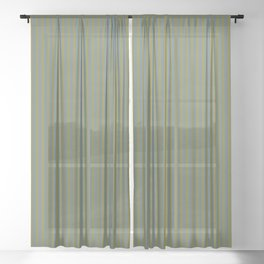 Yellow and blue green fine stripes neutral color design Sheer Curtain