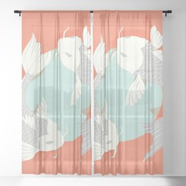 Koi fish 004 Sheer Curtain