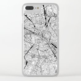 Paris White Map Clear iPhone Case